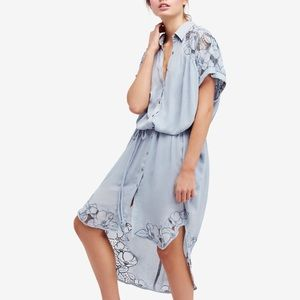 Brand New Free People Embroidered Midi Shirtdress
